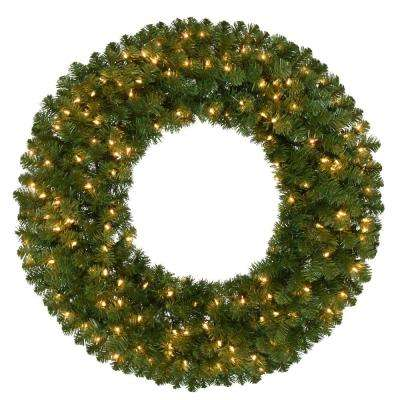36 in. Pre-Lit Artificial Kingston Christmas Wreath with 350 Tips and 150 Clear Lights