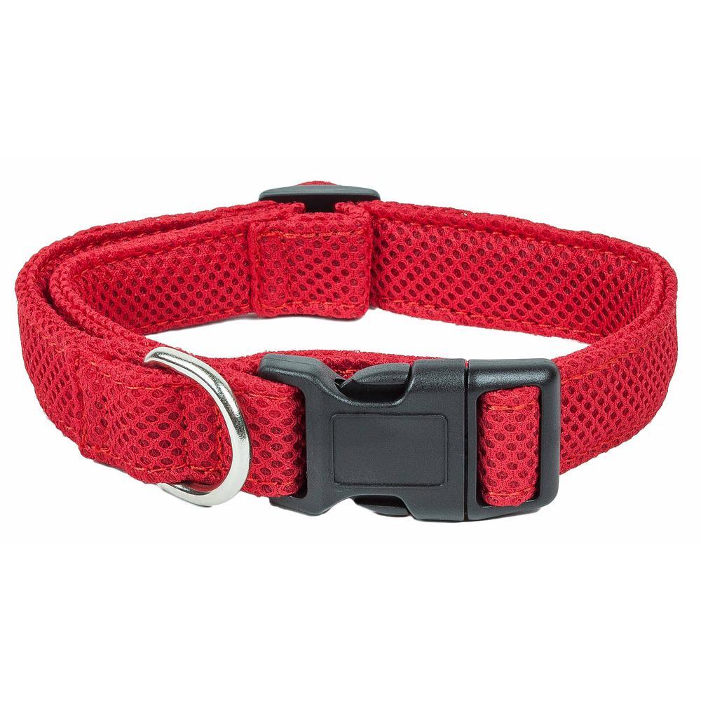 Aero Mesh 360-Degree Breathable Adjustable Mesh Dog Collar, Large, Red