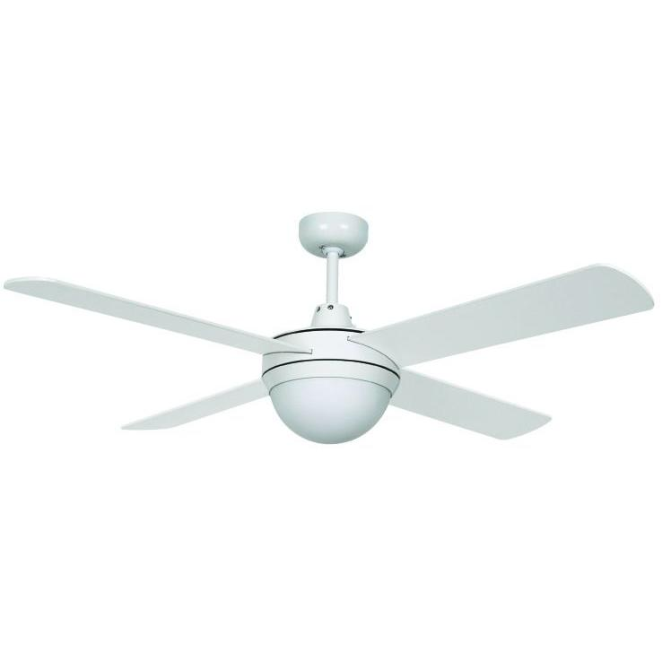 Hampton Bay Futura Eco 52 in. White Downrod Ceiling Fan with 4 Reversible Plywood Blades and Single Glass