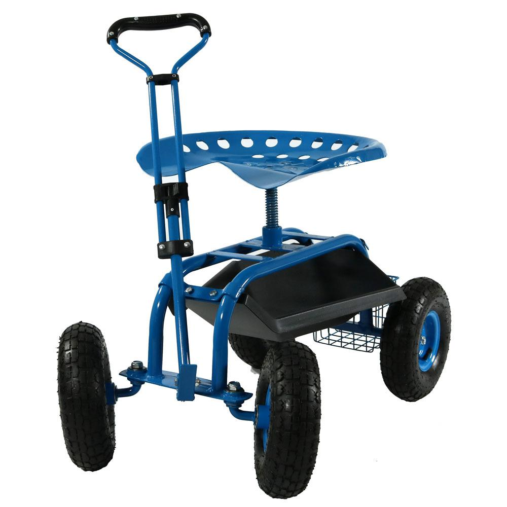 Sunnydaze Decor Blue Steel Rolling Garden Cart with Extendable Steering  Handle, Swivel Seat and Basket-QH-ESRC12-BL - The Home Depot