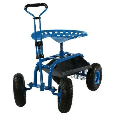 Blue Steel Rolling Garden Cart with Extendable Steering Handle, Swivel Seat and Basket
