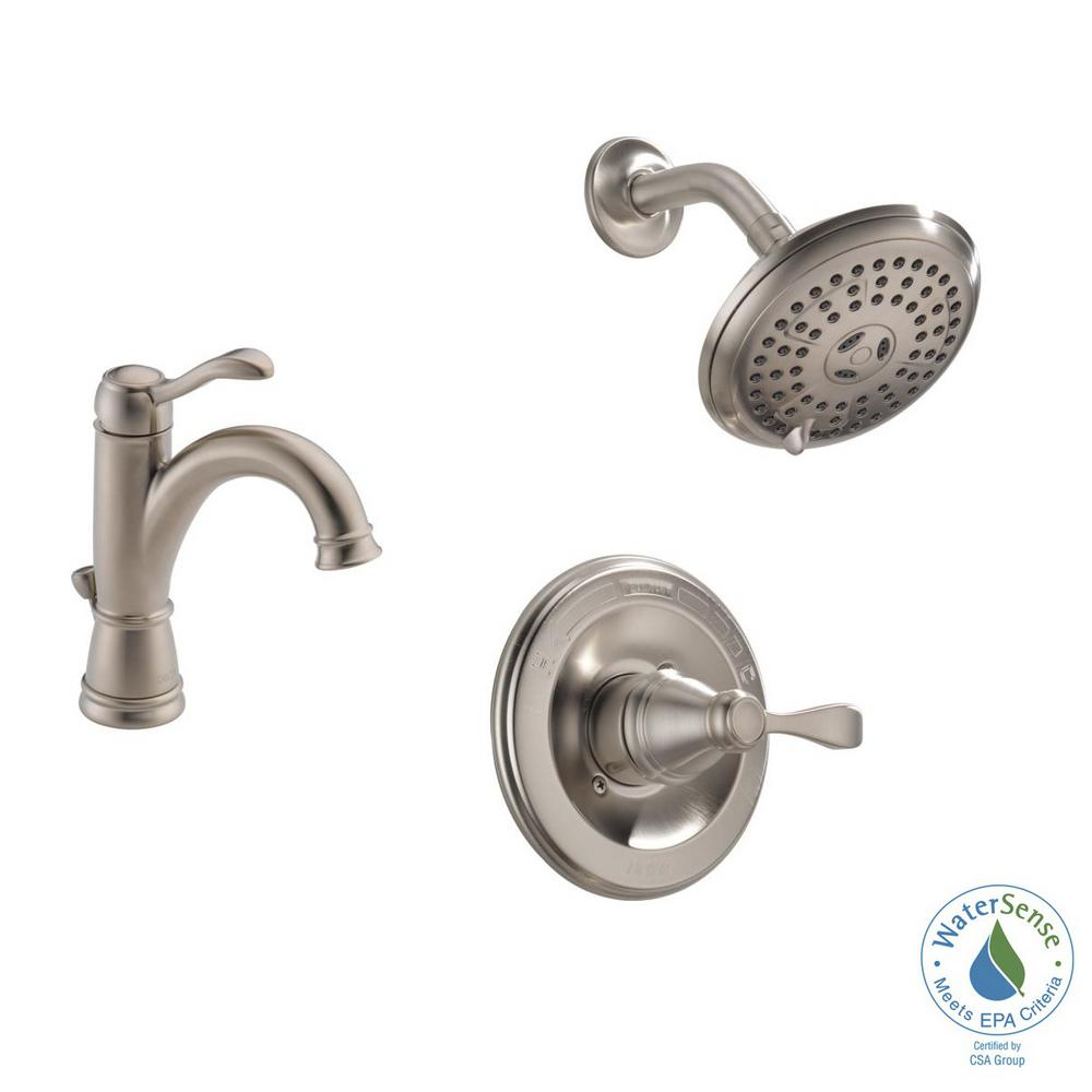 Porter 4 in. Centerset Single-Handle Bathroom Faucet Bundle with Shower in