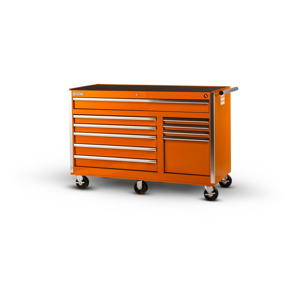 56 in. Tech Series 10-Drawer Tool Cabinet, Orange