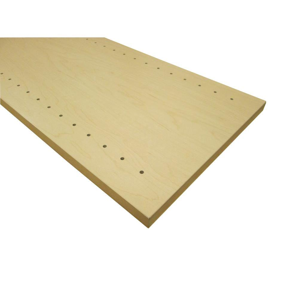 null 3/4 in. x 16 in. x 48 in. Hardrock Maple Thermally-Fused Melamine Adjustable Side Panel