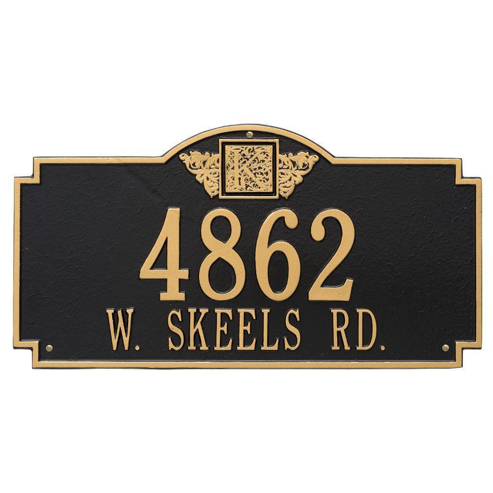 Monogram Estate Rectangular Black/Gold Wall 2-Line Address Plaque