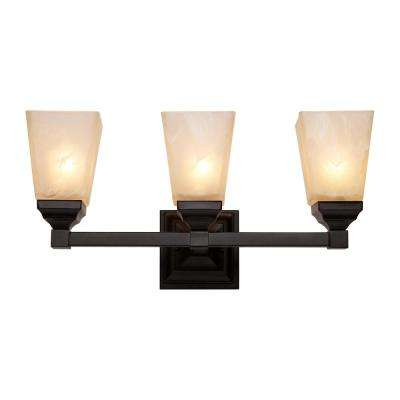 Hanna 3-Light Black Bath Light with Marbleized Shades