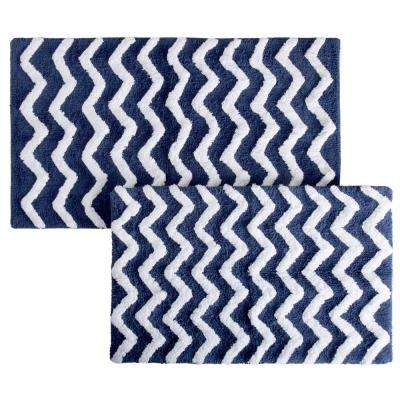 Chevron Navy 24.5 in. x 41 in. 2-Piece Bathroom Mat Set