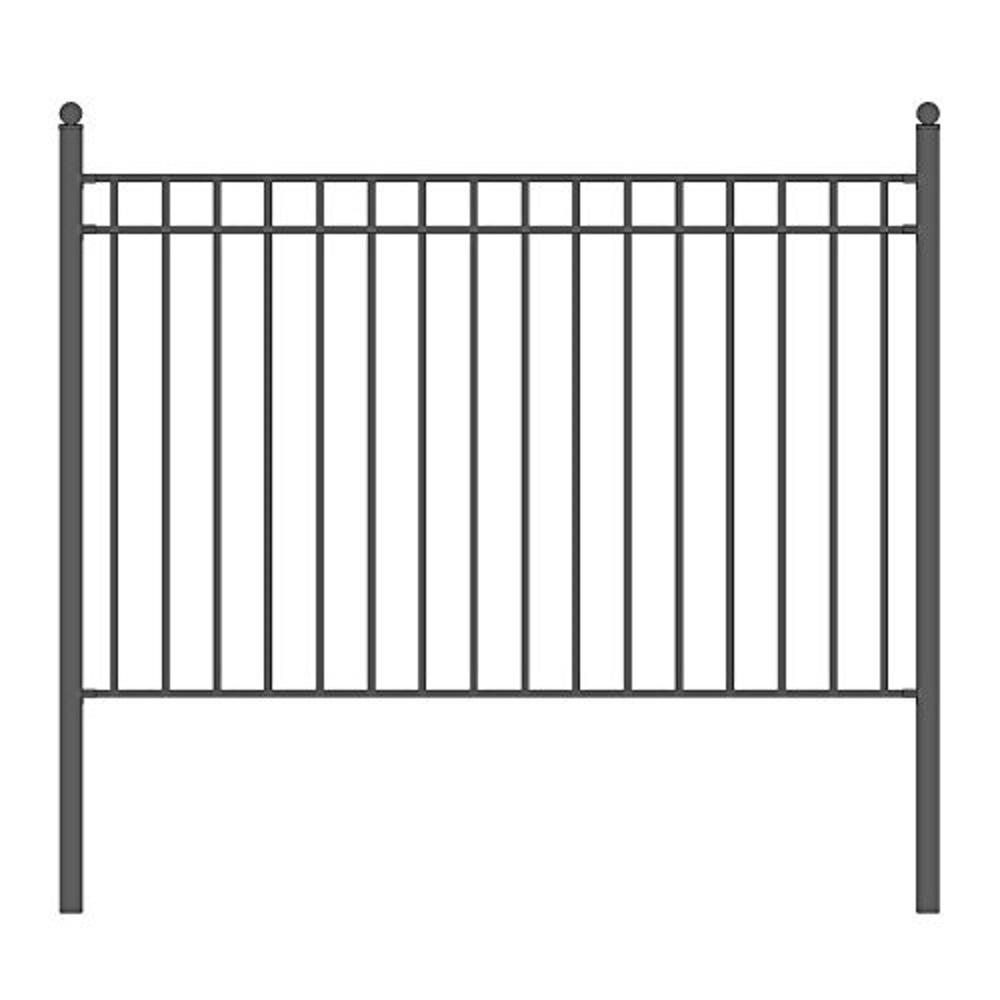 Madrid 5 ft. x 8 ft. Black Iron Fence Panel