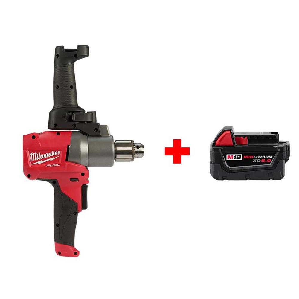 Milwaukee M18 FUEL 18-Volt Lithium-Ion Brushless Cordless 1/2 in. Mud Mixer with Free M18 5.0 Ah Battery