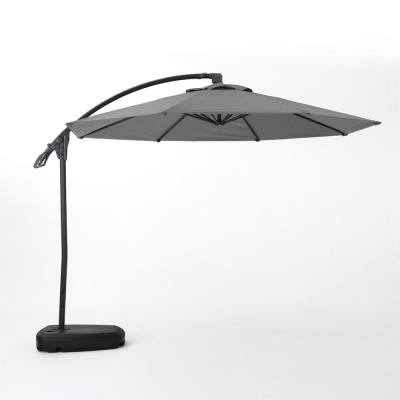 9.71 ft. Aluminum Cantilever Tilt Patio Umbrella in Gray
