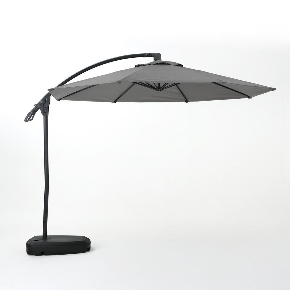 9.71 ft. Aluminum Cantilever Tilt Patio Umbrella in Gray