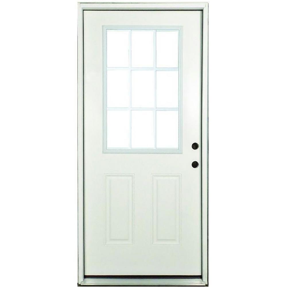 Steves & Sons 32 in. x 80 in. Premium Left-Hand White 9-Lite External Grille Primed Steel Prehung Front Door