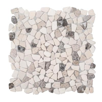 River Rock Medley 11 in. x 11 in. x 10 mm Travertine Mosaic Floor/Wall Tile