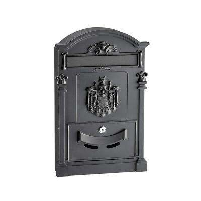 Black Steel Coat of Arms Mailbox