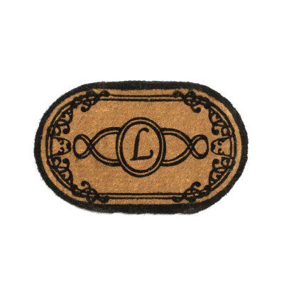 Perfect Home Lexington Oval Monogram Mat 24 in. x 39 in. x 1.5 in. Monogram L-DISCONTINUED