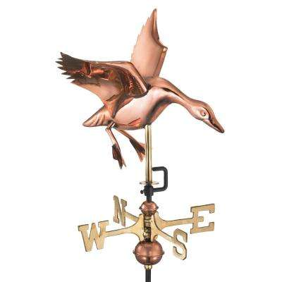 Landing Duck Cottage Weathervane - Pure Copper with Roof Mount
