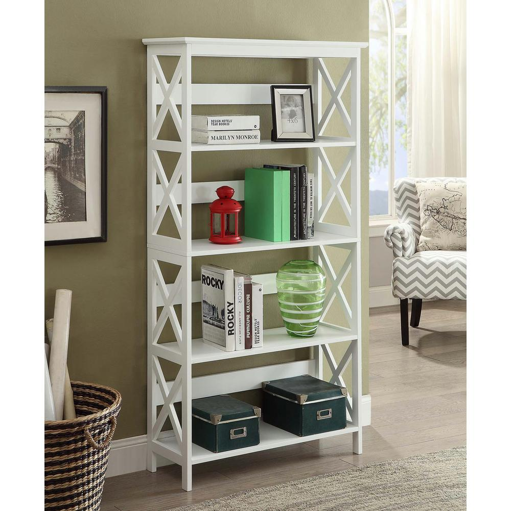 Nice Convenience Concepts Oxford White 5 Tier Bookcase