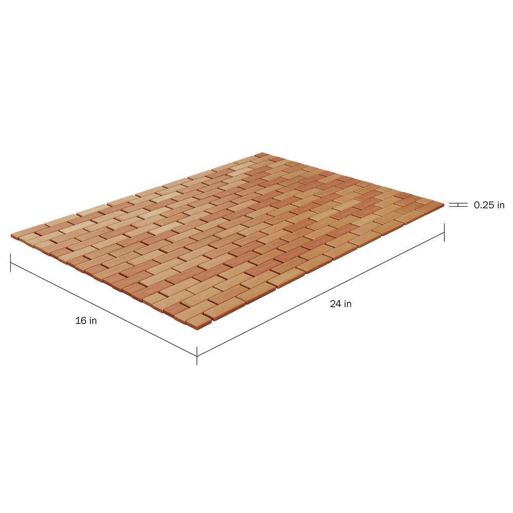 "Bamboo Floor Mat 17"" x 24"" Natural Style Non Slip Design for Kitchen Bathroo"