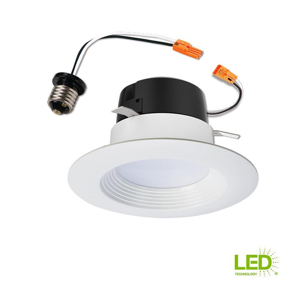 4 In White Integrated Led Recessed Retrofit Baffle Trim
