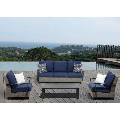 Augusta 4-Piece Wicker Patio Conversation Set with Sunbrella Blue Cushions