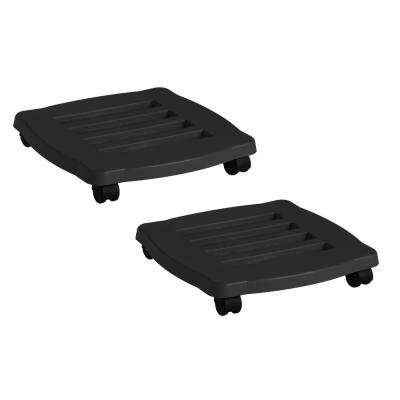 15 in. Black Plastic Square Plant Stand Dolly Caddy with Wheels (2-Pack)