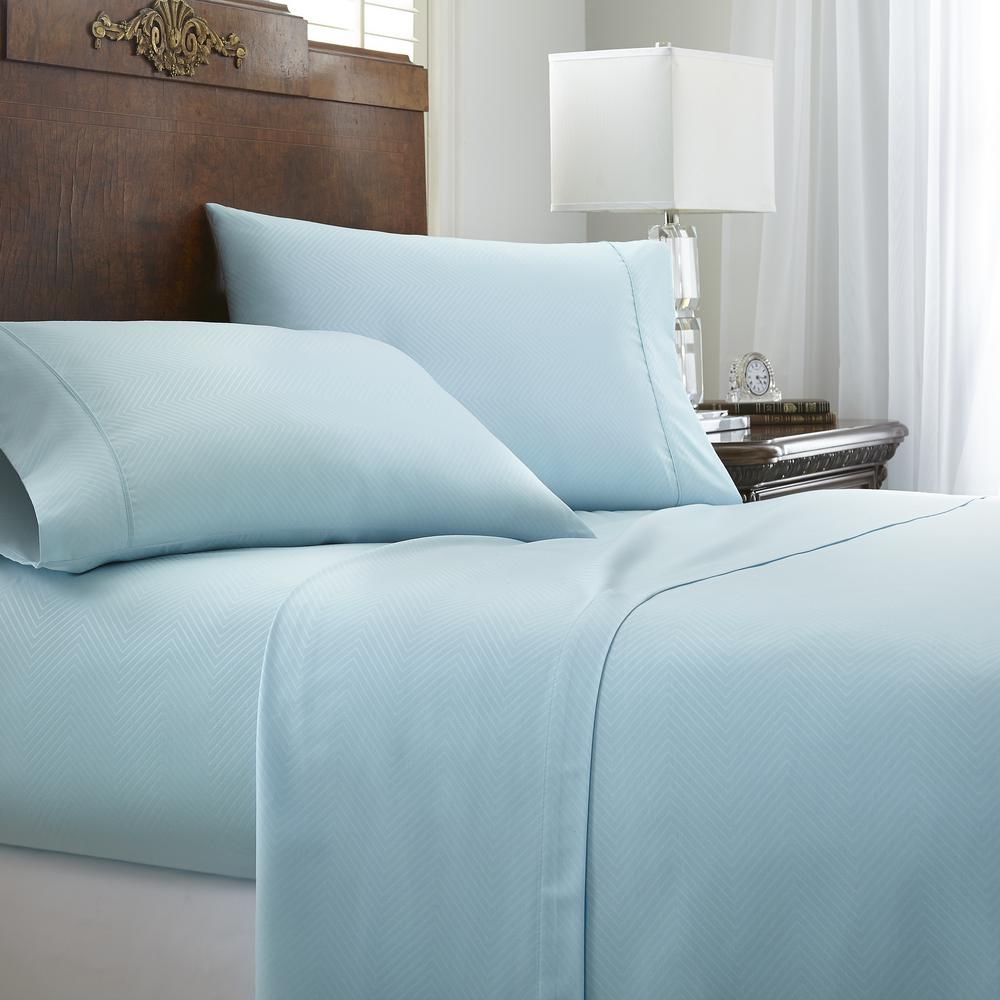 High Quality Becky Cameron Embossed Chevron 4 Piece Aqua King Performance Bed Sheet Set