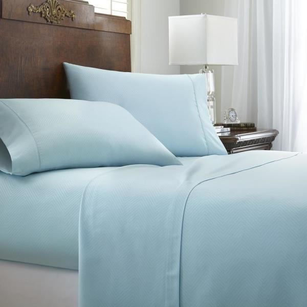 Becky Cameron Embossed Chevron Aqua Twin Performance 4-Piece Bed Sheet Set