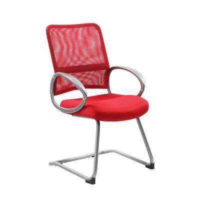 Red Mesh Back and Seat Pewter Arms and Frame Floor Glides Guest Chair