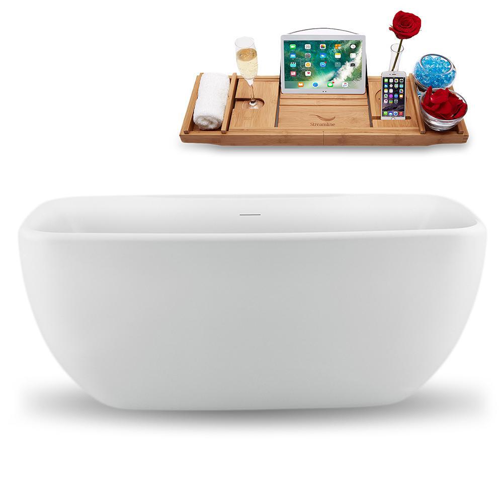 Streamline 59 in. Acrylic Flatbottom Non-Whirlpool Bathtub in Glossy White