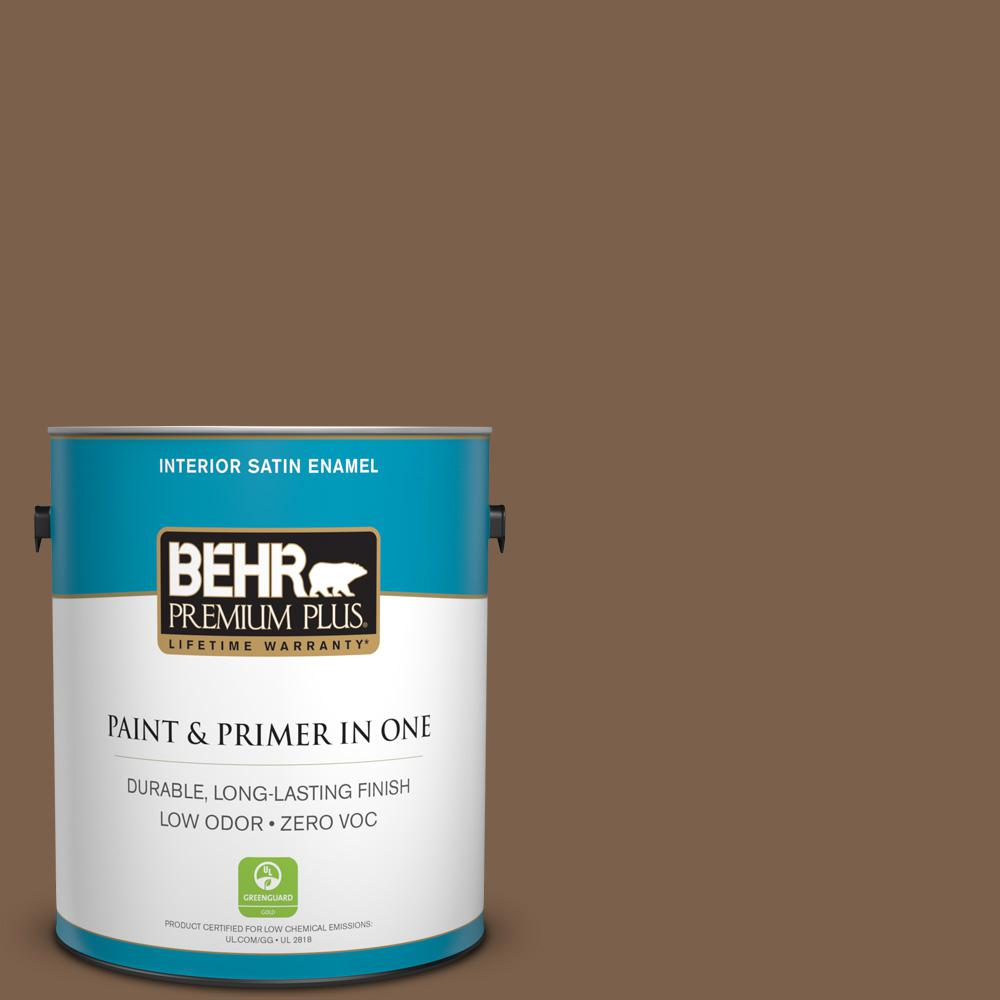 BEHR Premium Plus 1-gal. #PMD-60 Rich Walnut Zero VOC Satin Enamel Interior Paint