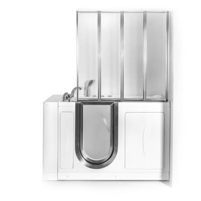 Elite 52 in. Walk-In Whirlpool and Air Bath Bathtub in White with LH Door, Thermostatic Faucet, Dual Drain,Shower Screen
