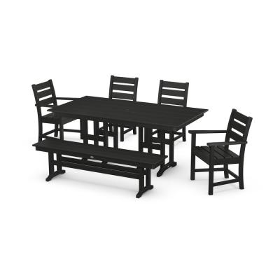 Grant Park Black 6-Piece Plastic Outdoor Dining Set with Bench