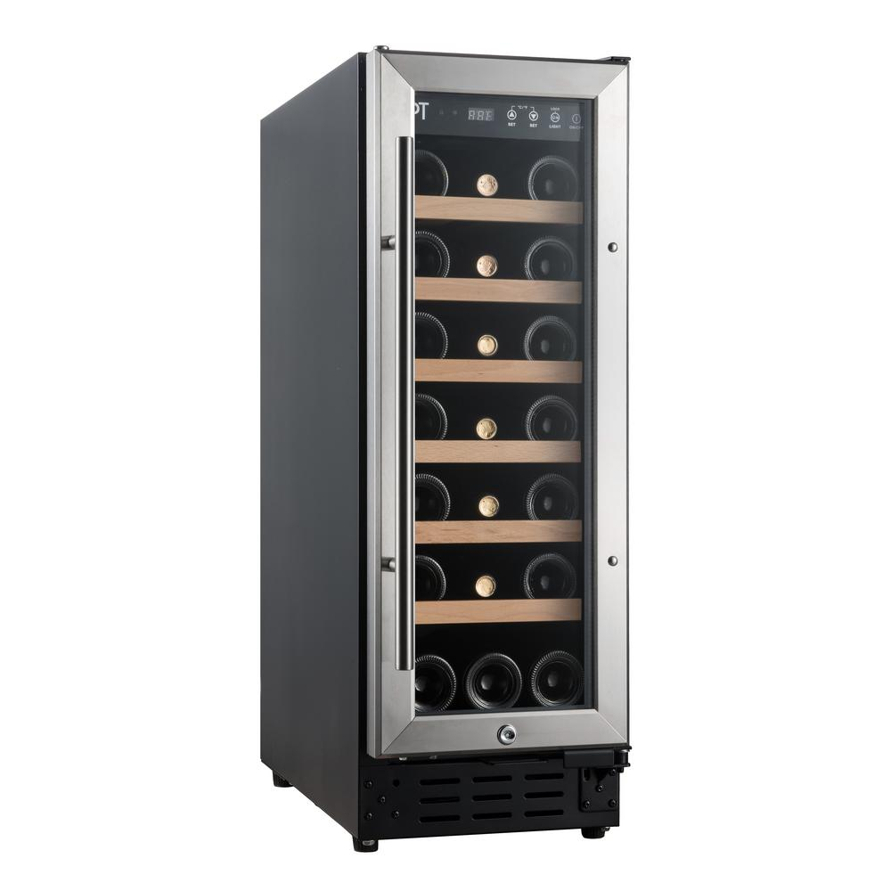 21-Bottle Under-Counter Wine and Beverage Cooler with Wooden Shelves (Commercial