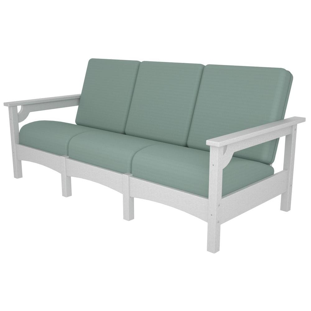 Polywood Club White Patio Sofa With Sunbrella Spa Cushions