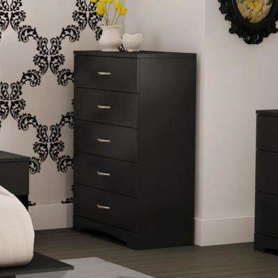 Step One 5 Drawer Pure Black Chest. Dressers   Chests   Bedroom Furniture   The Home Depot