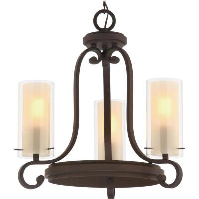 Regina 3-Light Antique Bronze Indoor Mini Hanging Chandelier, Outer Clear Glass and Inner Amber Glass Cylinder Shades