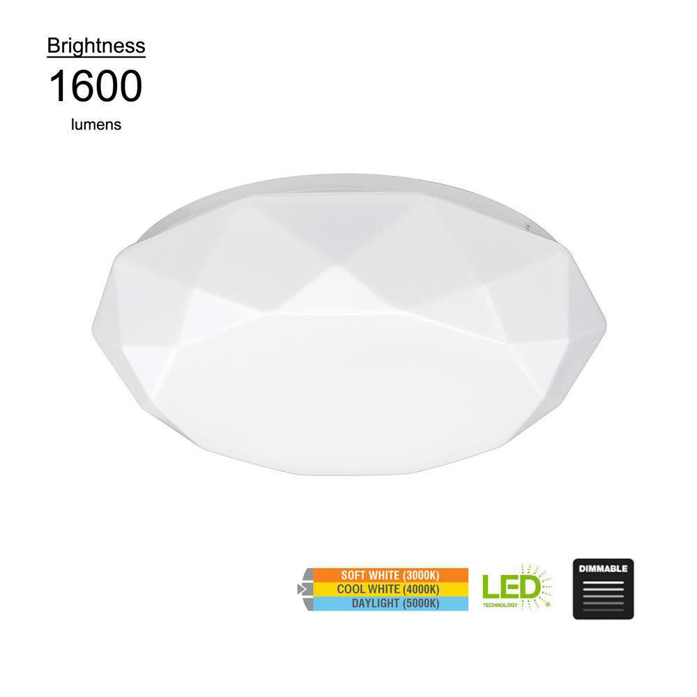 Diamond Style 16 in. White 100 Watt Equivalent Integrated LED Flushmount