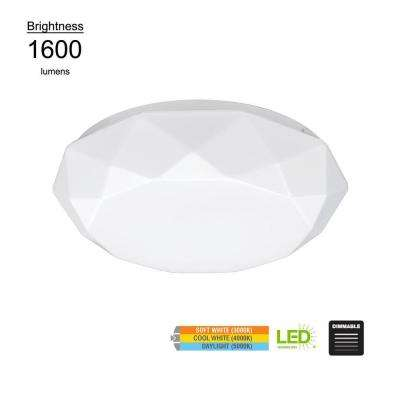 Diamond Style 16 in. 100-Watt Equivalent White Integrated LED Flush Mount with Color Temperature Changing Feature