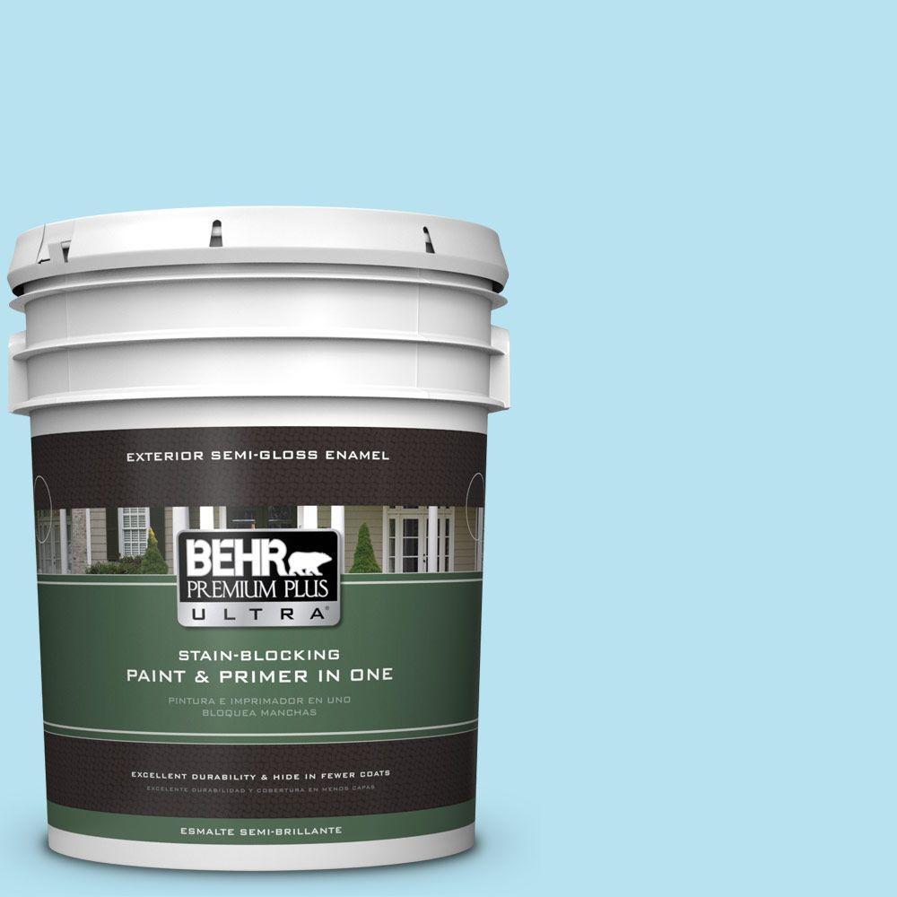 BEHR Premium Plus Ultra 5-gal. #P490-1 Ocean Front Semi-Gloss Enamel Exterior Paint