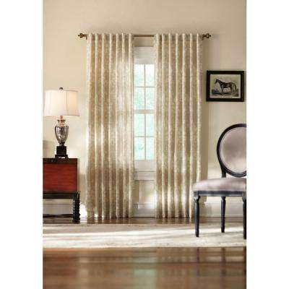 Semi-Opaque Cream Tonal Damask Back Tab Curtain