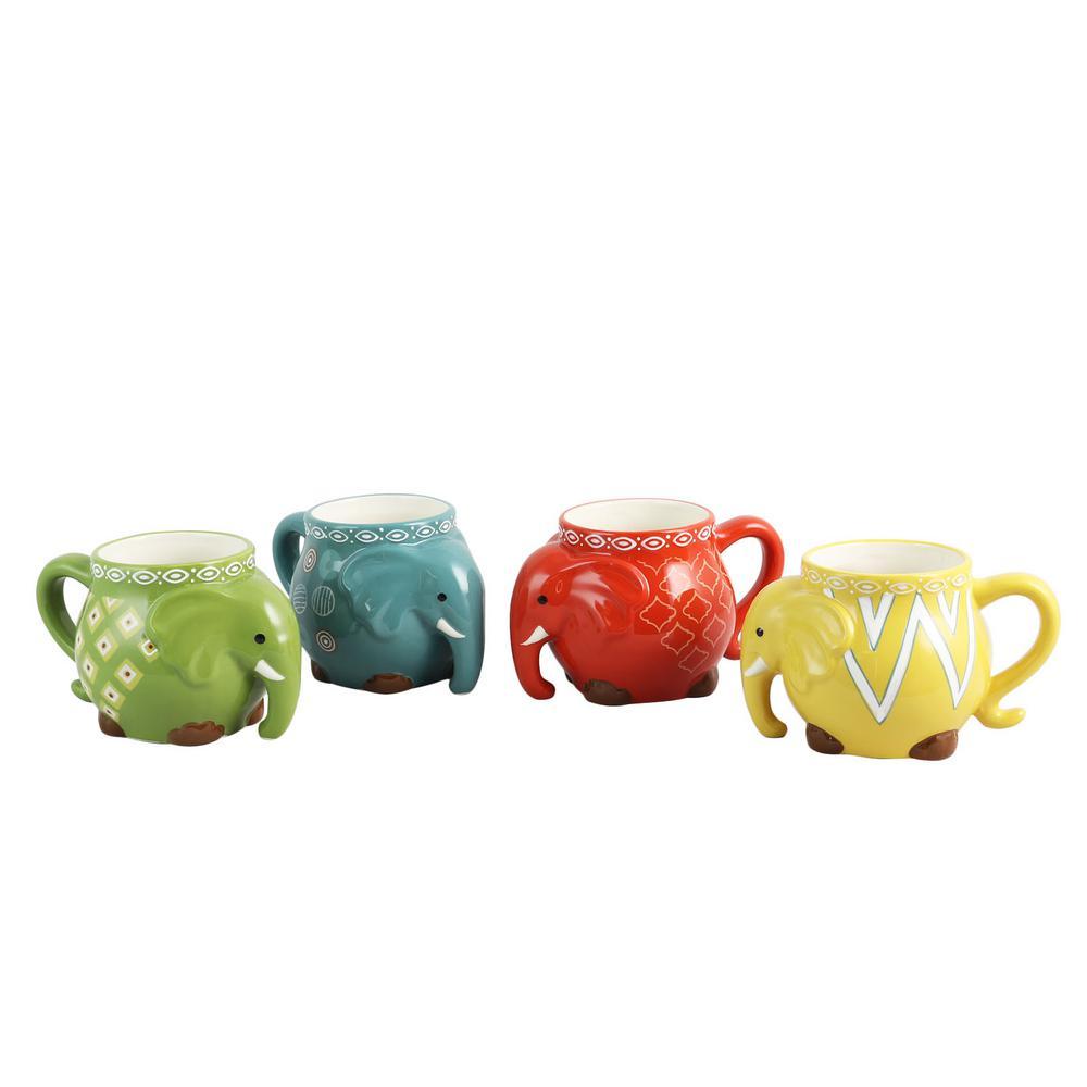 Gibson Home 17.5 oz. Elephant Tusk Assorted Colors Figural Mug (Set