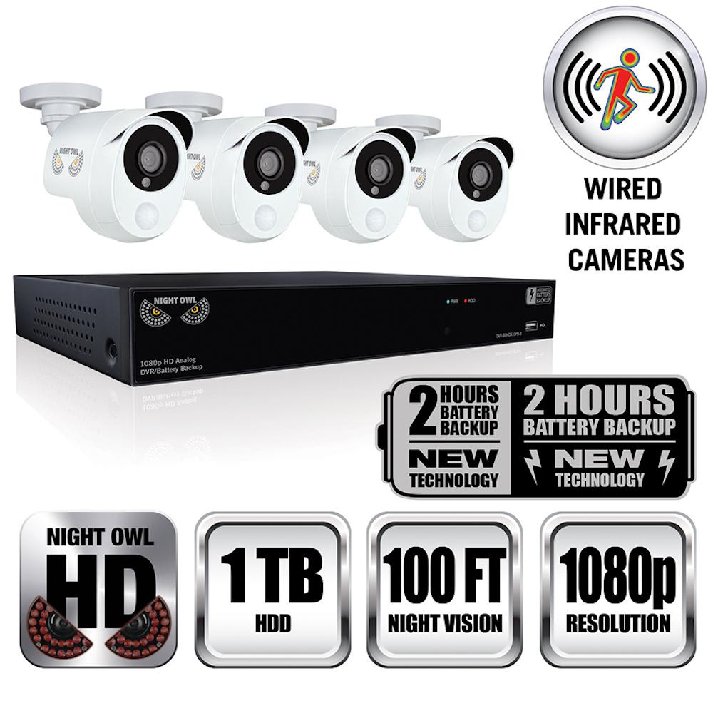 Integrated Battery Backup 8-Channel 2MP HD 1.9TB HDD Video Security Surveillance