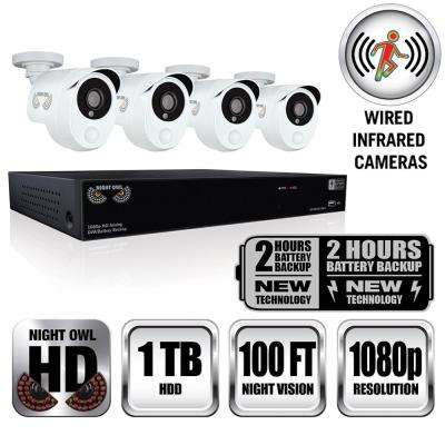 Integrated Battery Backup 8-Channel 1080p HD Video Security DVR with 1 TB HDD and 4 x 1080p Wired Infrared Cameras