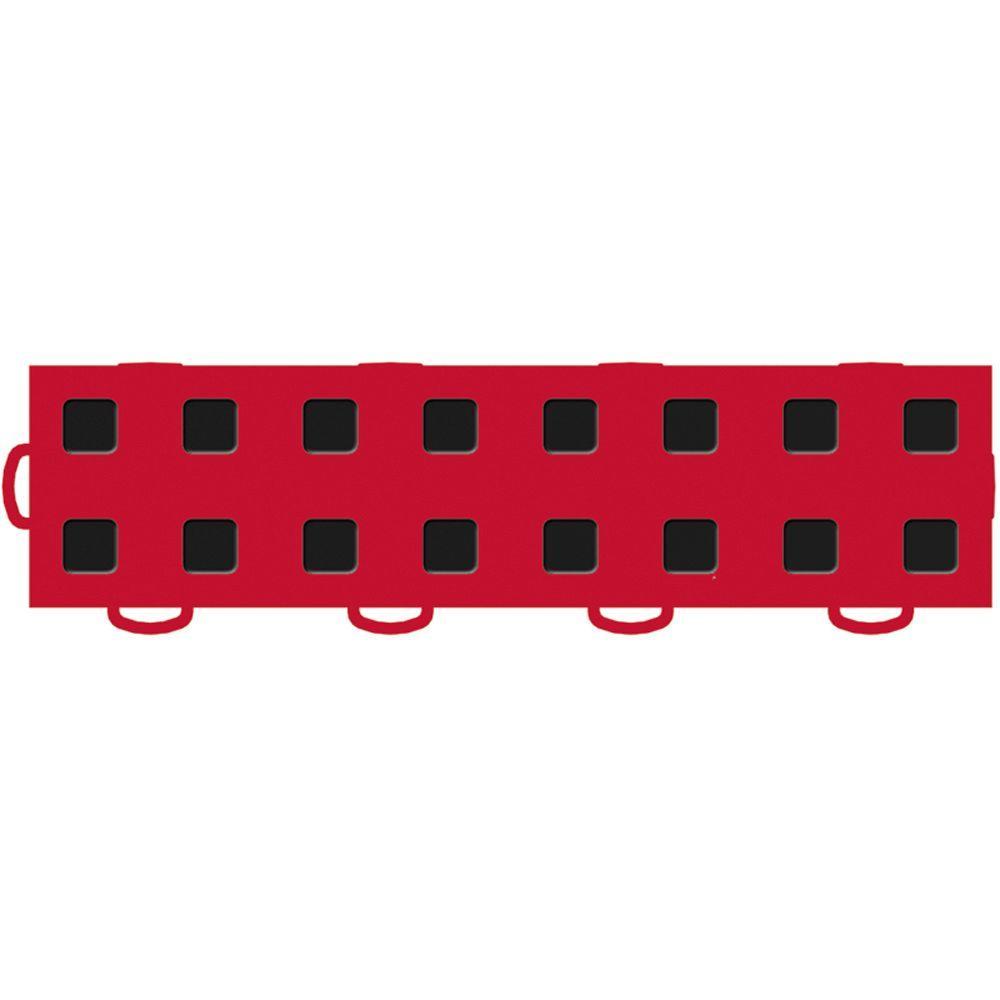 WeatherTech TechFloor 3 in. x 12 in. Red/Black Vinyl Flooring Tiles (Left Loop) (Quantity of 10)