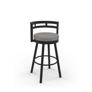 Awesome Render 30 In Taupe Grey Faux Leather Dark Brown Metal Swivel Bar Stool Theyellowbook Wood Chair Design Ideas Theyellowbookinfo