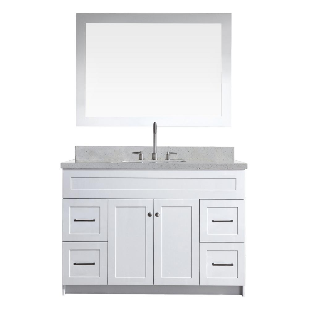 Hamlet 49 in. Bath Vanity in White with Quartz Vanity Top