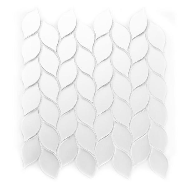 Handmade decor Frosted White 11.57 in. x 13.42 in. Glass Peel and Stick Teardrop Mosaic Tile (15 sq. ft./case)