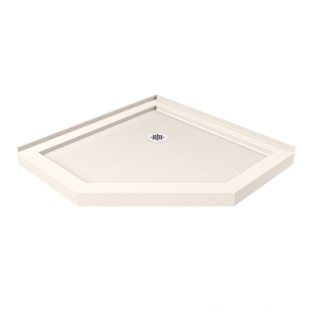 Beau DreamLine SlimLine 38 In. X 38 In. Neo Angle Shower Tray In Biscuit
