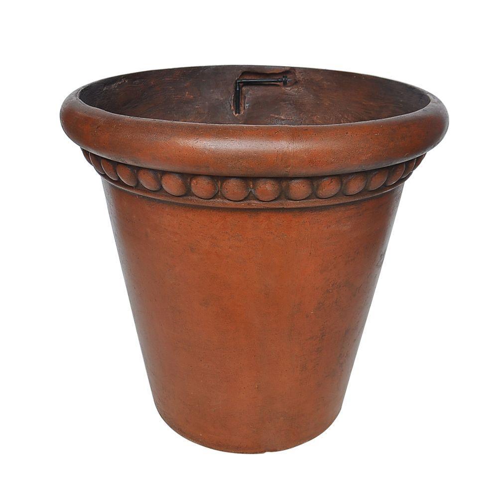 18 in. Dia Medium Dark Brown Composite Drip Irrigation Pot (Set of 2)