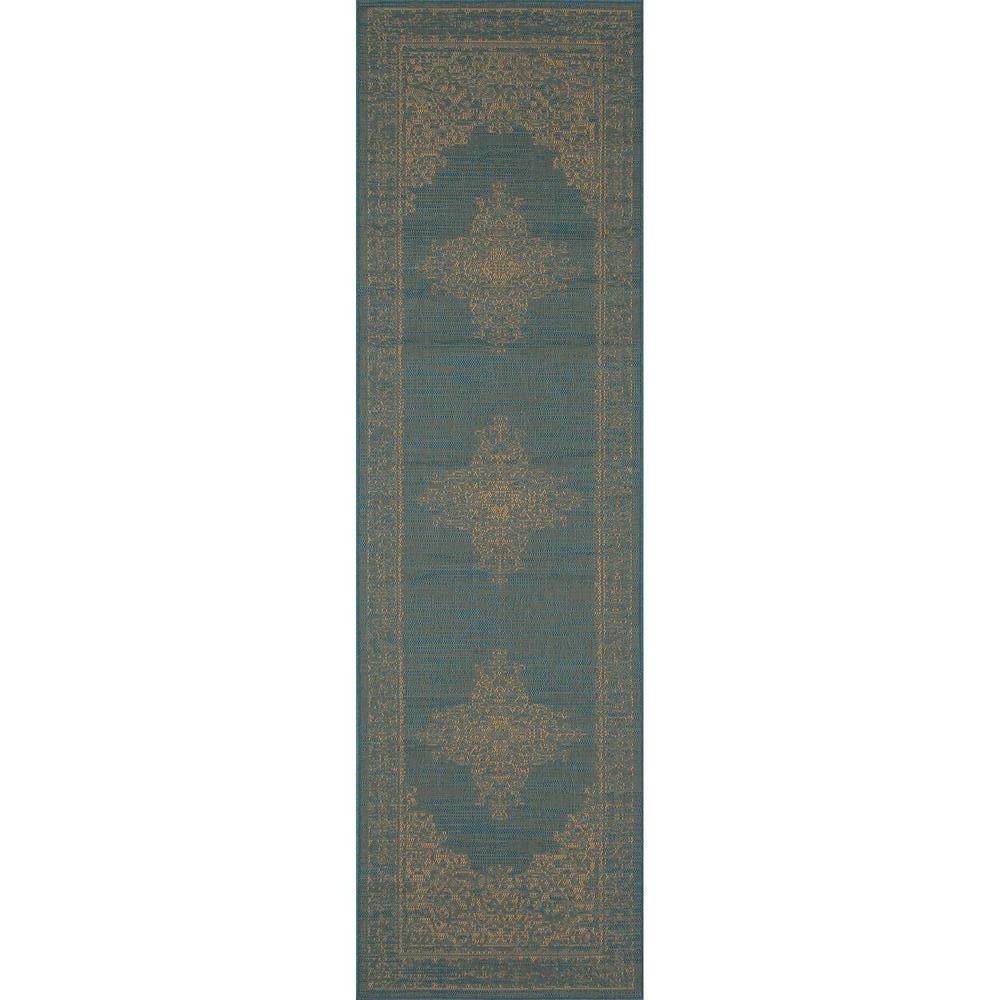 Art Carpet Plymouth Nest Blue 3 ft. x 9